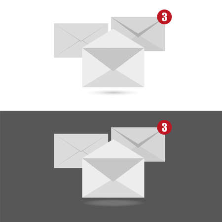 White envelope letter with counter notification, concept of incoming email message.