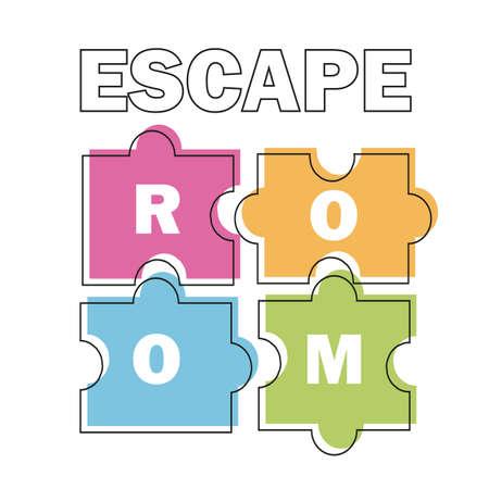 Illustration pour Escape room. Vector illustration poster, banner on white background puzzle - image libre de droit