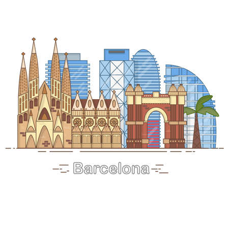 Ilustración de Minimal Barcelona City Linear Skyline - outline city buildings, linear illustration, travel landmark - Imagen libre de derechos