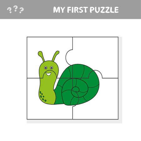 Foto de Educational puzzle game for children. Kids activity sheet with snail character, mosaic pieces - Imagen libre de derechos