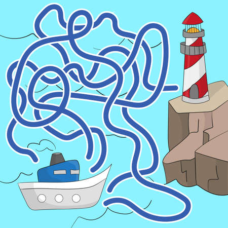 Illustration for Maze game for children. Help the boat get to the lighthouse. Game for kids - Royalty Free Image
