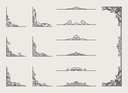 Illustration pour Borders and frames corner vintage set collection - image libre de droit