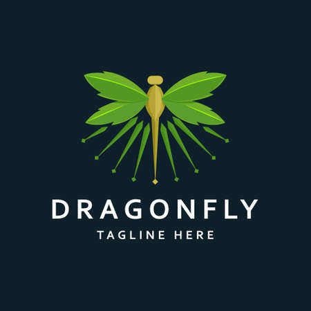 Illustration pour Modern Dragonfly with Leaves Logo Template - image libre de droit