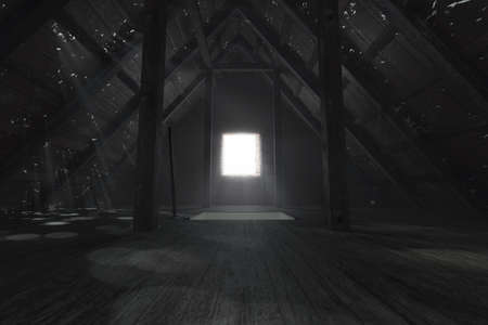 3d rendering of darken empty attic with light rays through holes in the roof