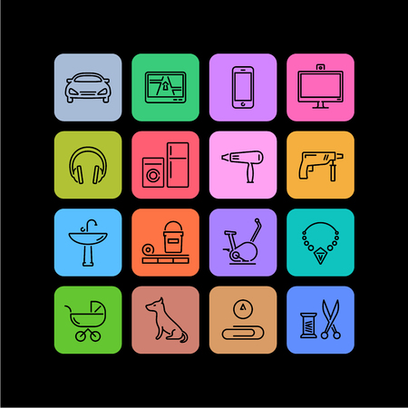 16 icons of different products categories for online shops