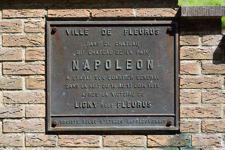 Brass commemorative plaque of Napoleon's overnight