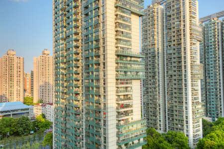 Photo pour Close up of apartment buildings in Shanghai - image libre de droit