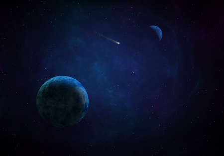 3d rendered Space Art: Alien Planet in outer space. Imaginary view of a blue planet in a star field