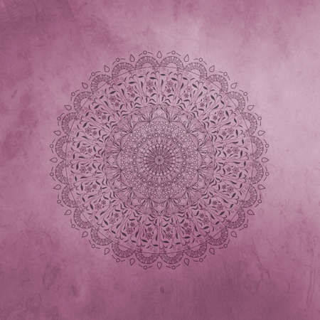 Photo pour Pink vintage greeting card with Mandala. Great for invitation, flyer, menu, brochure, postcard, wallpaper, decoration, or any desired idea. - image libre de droit