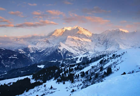 Rose sunset on Mont blanc
