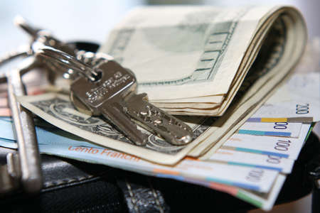 cash and keys in close up