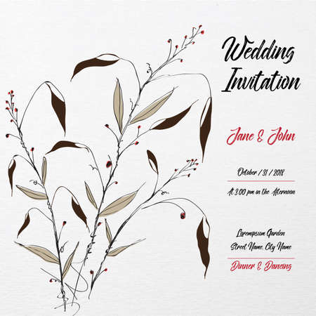 Hand Drawn Wedding Invitation Card Template With Floral Leaf