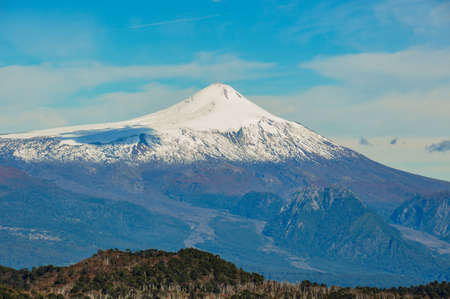 Volcan Villarrica viewed from Santuario El Cani, near Pucon, Chile.