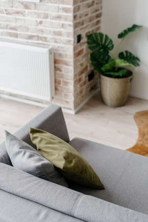 Photo pour Vertical shot of modern gray couch with decorative pillows in loft style living room or lounge zone decorated with potted greenery, white radiator hanging on brick wall in blurred background - image libre de droit