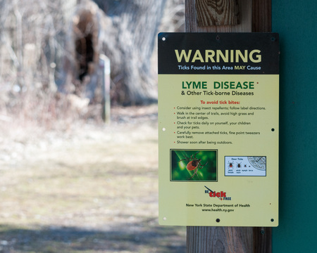 Deer Tick Warning Sign posted in a nature park in New York State.