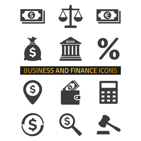 Illustration for Finance icons set on white background. - Royalty Free Image