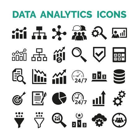Illustration pour Data analytics icons set on white background. Vector Illustration - image libre de droit