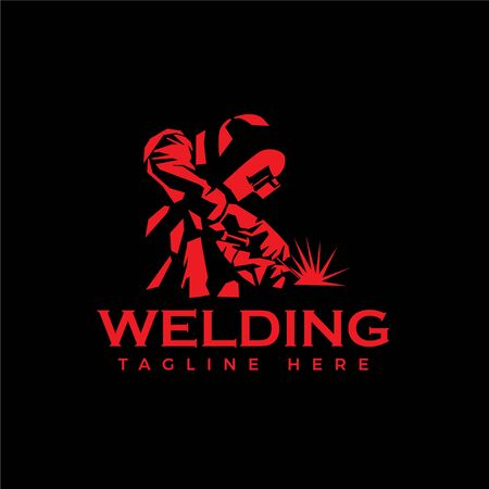 Welding Logo Welder Silhouette Working With Helmet In Simple And Modern Design Style Royalty Free Vector Graphics