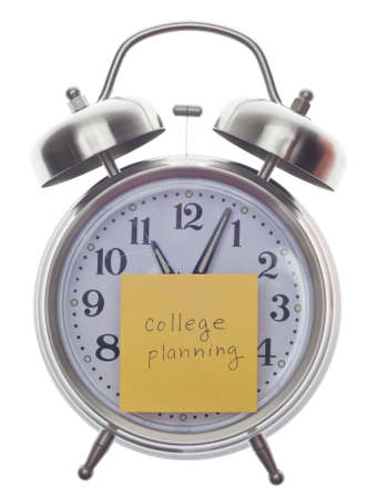 College Planning Time Concept with Note on Alarm Clock Isolated on White.