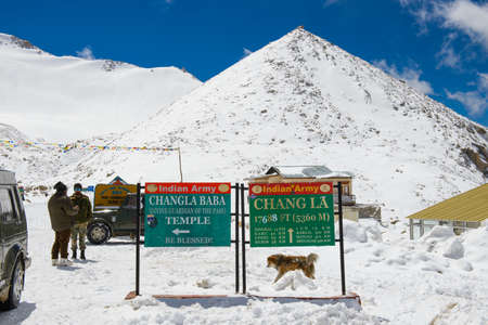 Leh, India - April 12, 2016 : Chang La pass in Ladakh, India. Chang La is the main gateway to the Changthang Plateau located in Indian Himalaya. It has an elevation of around 5,360 m
