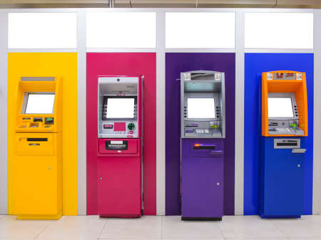 Foto de ATM bank cash machine from different sides color - Imagen libre de derechos
