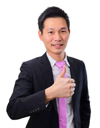 Photo pour Portrait handsome asian business man with thumb's up - image libre de droit