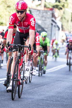 Photo pour Imperia, IM, Liguria, Italy - March 20, 2016: An important cycling race in a small town in Italy in March. The name of the competition is Milano-Sanremo 2016 - image libre de droit