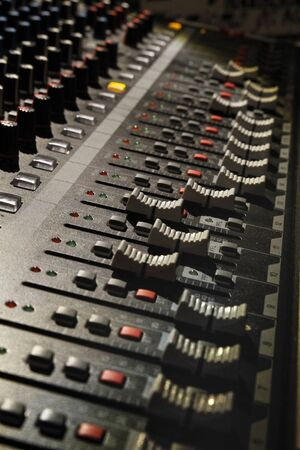 Foto per Electronic mixer used to create music from a dj - Immagine Royalty Free