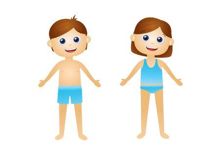 Illustration for Cartoon kids in underwear vector illustration - Royalty Free Image