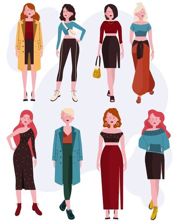 Illustration for Trendy Caucasian woman set - Royalty Free Image