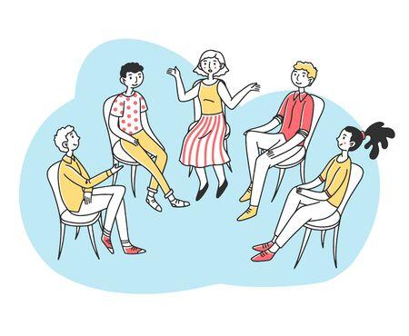Illustration pour Patients discussing their psychological or addiction problem - image libre de droit