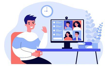 Illustration pour Worker using computer - image libre de droit