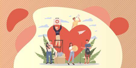 Illustration for Volunteers vector illustration - Royalty Free Image
