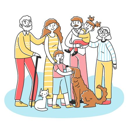 Illustration for Happy big family with pets standing together flat vector illustration. Cartoon characters of mother, father, grandma, granddad, children, cat and dog. Relationship and love concept - Royalty Free Image