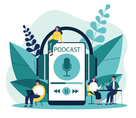 Illustration pour People listening speakers from broadcasting station - image libre de droit