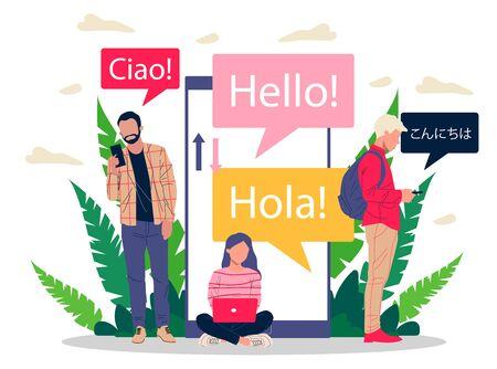 Illustration pour Online multi language translator flat vector illustration - image libre de droit