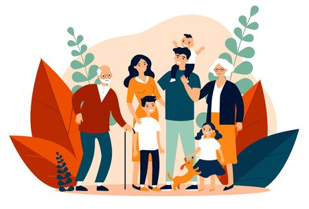Illustration pour Happy big family standing together flat vector illustration - image libre de droit