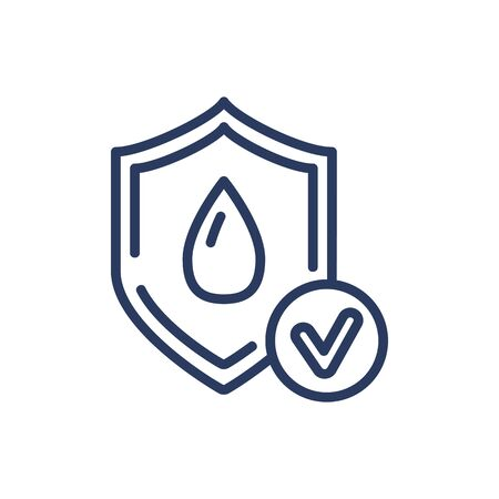 Illustration pour Wet protection thin line icon. Water, dry, shield isolated sign. Comfort and sleeping concept. Vector illustration symbol element for web design and apps - image libre de droit