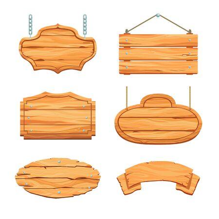 Illustration pour Rustic wooden boards set - image libre de droit