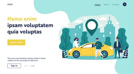 Illustration pour Commuters sharing car in city. People searching vehicle with location pointer. Vector illustration for transport rent, transfer, automobile, travel concept - image libre de droit