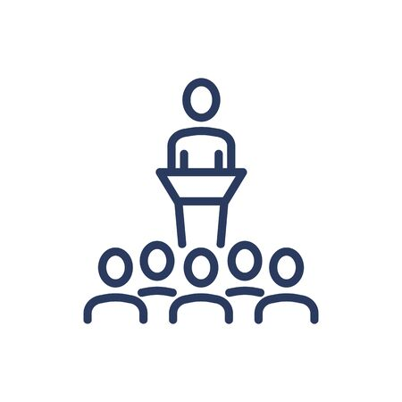 Illustration pour Speaker and auditorium thin line icon. Speech, training, couching isolated outline sign. Teamwork and business concept. Vector illustration symbol element for web design and apps - image libre de droit