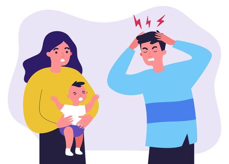Illustration pour Young father tired of migraine because of crying baby - image libre de droit