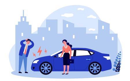 Illustration pour Drivers upset about car breakdown - image libre de droit
