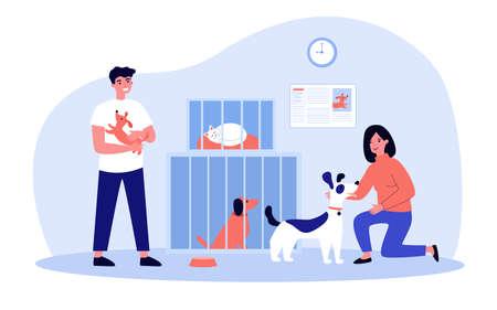 Illustration pour People adopting pets from shelter - image libre de droit
