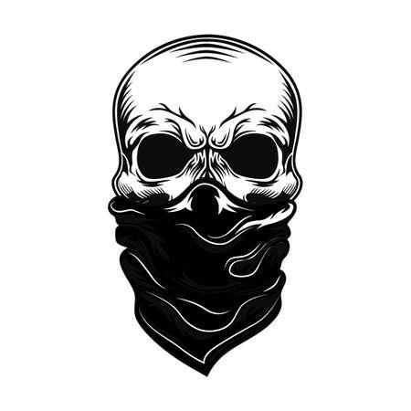 Illustration pour Skull with bandana vector illustration - image libre de droit