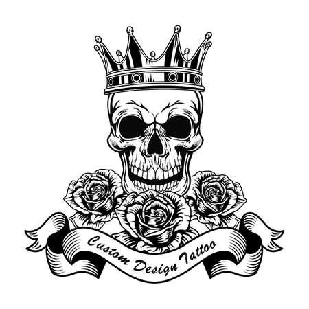 Illustration pour Black skull in crown and roses vector illustration - image libre de droit