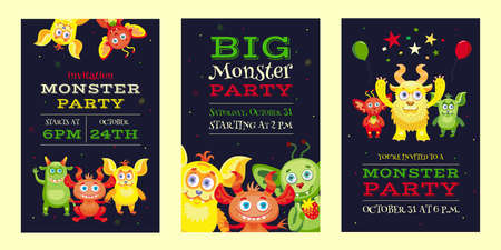 Illustration for Monster party invitation designs with funny beasts and mascots - Royalty Free Image