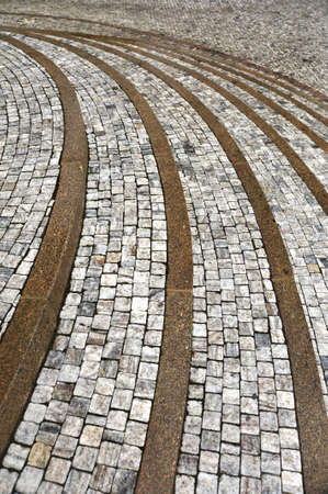 Old curved stone steps - cobblestones - granite - outdoor