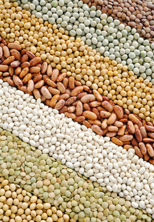 Mixture of dried lentils, peas, soybeans, beans  - background