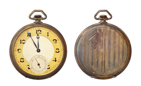 Old antique pocket watch isolated on white background.